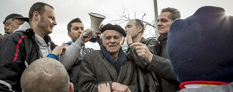 Two days after violent clashes with police, more protesters gather in front of the federal parliament building in Sarajevo, Bosnia and Herzegovina, Feb. 10, 2014. Photo Credit: The New York Times/Ziyah Gafic